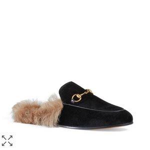 brand new Gucci Princeton velvet lamb fur slides